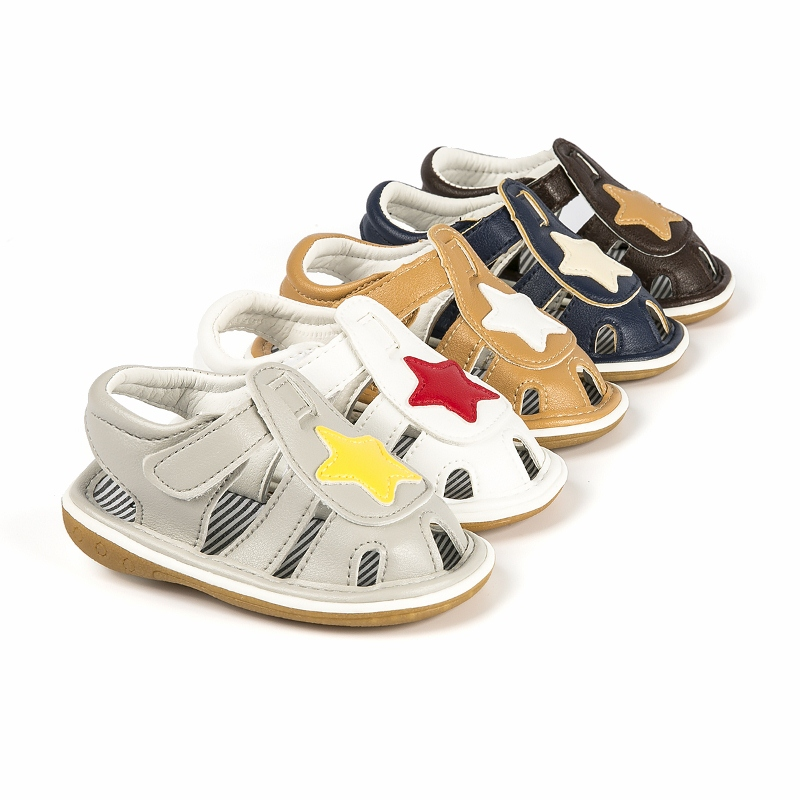 Adela Flower Fashion Squeaky Closed Toe PU Leather Baby Boy Sandals Breathable Infant Toddler Crib Summer Beach Sandals Shoes