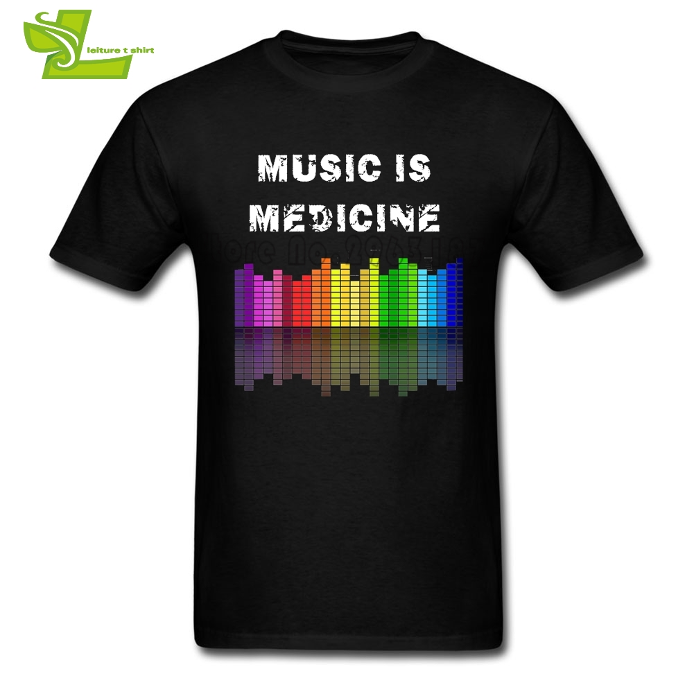Music Is Medicine T Shirt Guys New Unique Tshirt DJ Music Beat Equalizer T-Shirt Mens Summer Crew Neck Cool Dad Clothing