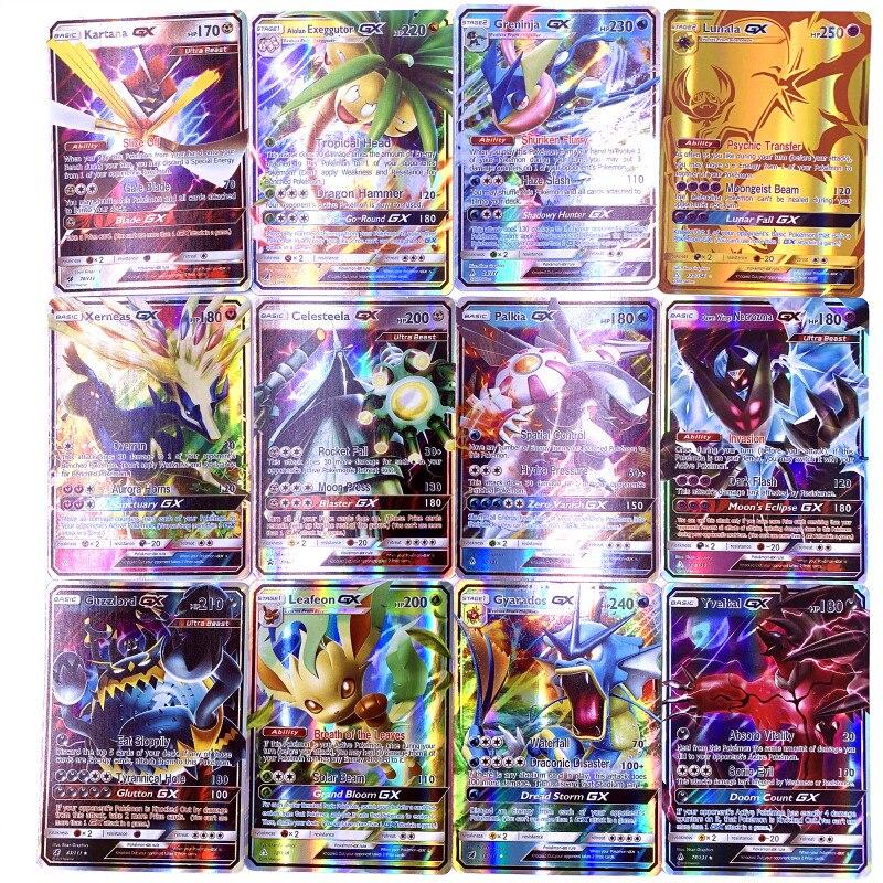 GX MEGA cartes brillantes jeu bataille Carte 200 pièces 25 50pcs 100 pièces cartes à collectionner jeu enfants Pokemons jouet