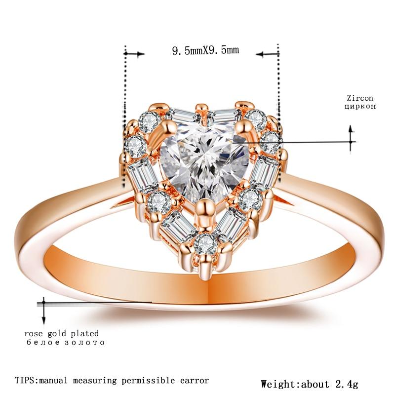 Tocean Rose Gold Color Cute Romantic Wedding Rings for Women Heart AAA Zircon Engagement Fashion Bijoux Bague Size 6-9 W122