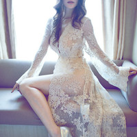 New Summer Long Bathrobe High Quality Lace Robe With Knickers Robes Sexy Costumes Maxi Negligee Female Nightie Woman Sex Clothes