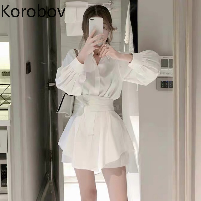 Korobov Women Korean Beach Style Suits Long Sleeve OL Sashes Lacing Bow Blouses + Shorts Women 2 Piece Set Outfits 78358