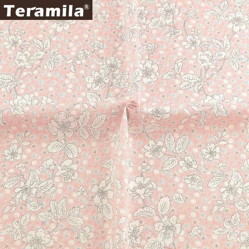 Teramila Pink 100% Cotton Twill Fabric Algodon Cloth DIY Flroal Design Cloth Sewing Dress Patchwork Quilts Beedsheet Curtains