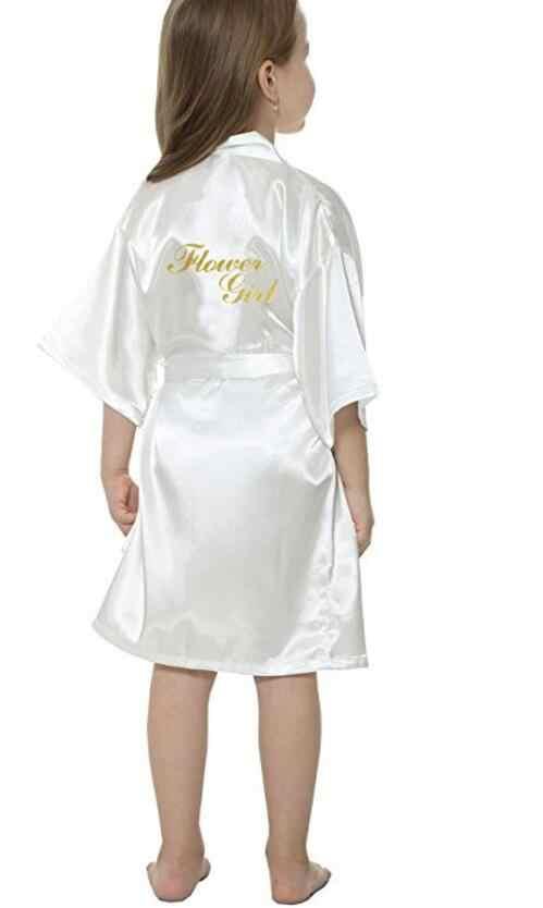 New solid girls stain silk robes flower girl kimono robes wedding brief  bathrobes pajamas kids robe c185e1ec6