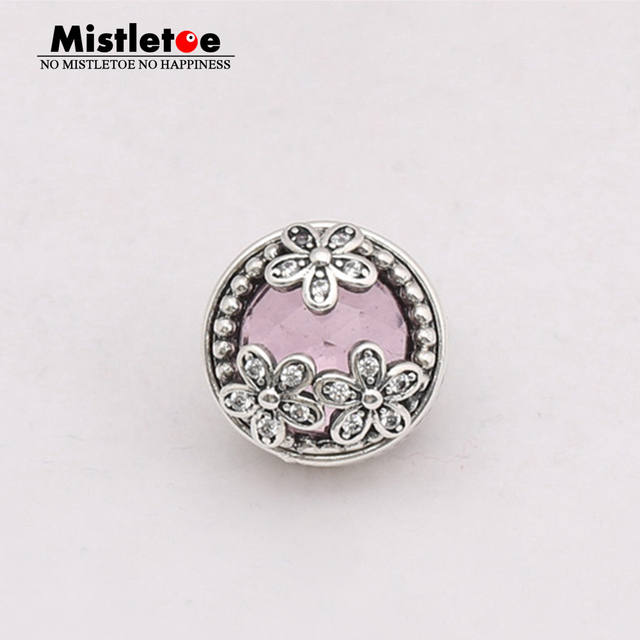 Dazzling Daisy Meadow, Pink & Clear CZ 925 Sterling Silver Charms Fit Pandora & Other European Charm Bracelets