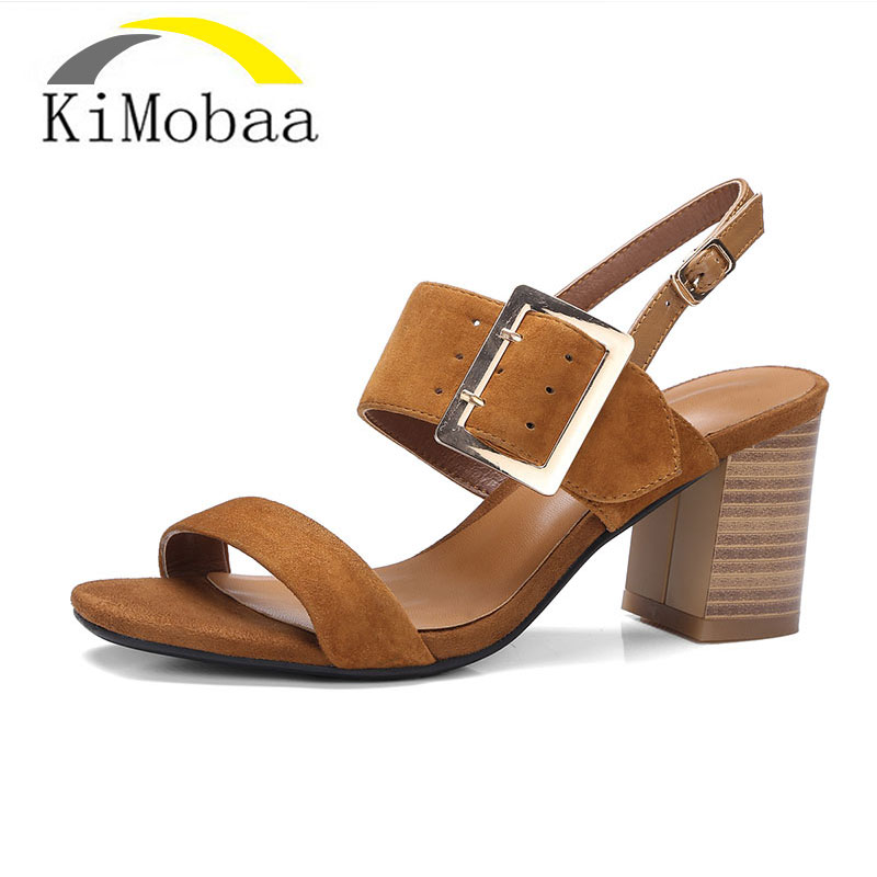 Kimobaa New model Summer 2017 Women Sandals Genuine Leather Casual Strap Square heel Fashion shoes woman Free shipping TX100 xiaying smile summer new woman sandals platform women pumps buckle strap high square heel fashion casual flock lady women shoes