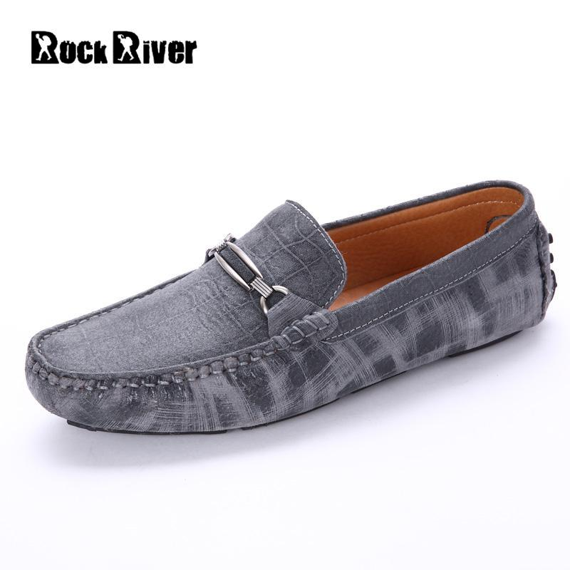 Rock River 2017 Summer Luxury Driving Breathable Genuine Leather Flats Loafers Men Shoes Casual Fashion Slip On Size 38-44 big size 39 48 men flats summer genuine leather loafers breathable driving shoes moccasines slip on male casual shoes xk032808