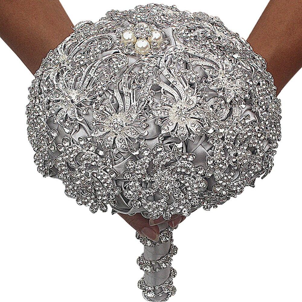 Luxe fait main mariage Bouquet haute qualité argent plaqué cristal broches bijoux mariée mariage fleur diamètre 18 cm