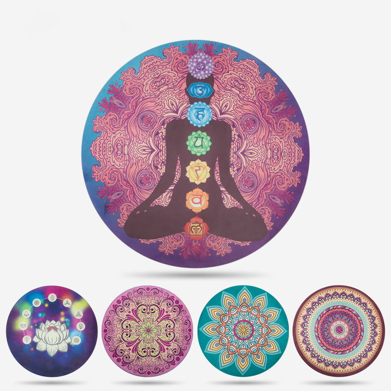 1.5m Diameter 1.5mm Thickness Round Yoga Mat Meditation Natural Rubber Eco-friendly Non-slip Yoga Mat Fitness Gym Mat Rubber eco friendly dyeing of silk with natural dye