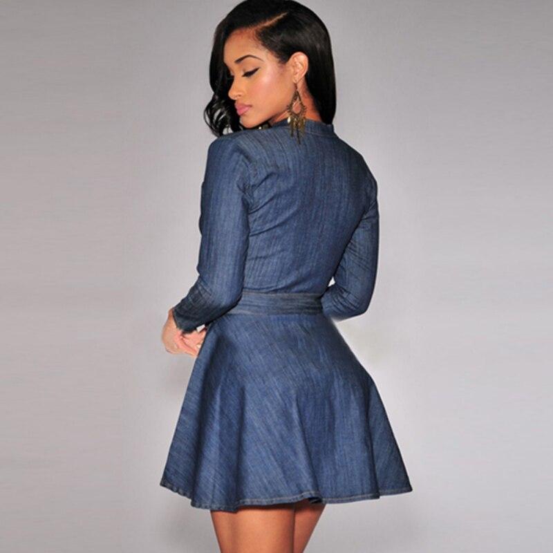 d823391cca2 Retail Wholesale Women Casual Short Mini Dress Denim Jean Belted Dress Long  Sleeve Shirt Dresses-in Dresses from Women s Clothing on Aliexpress.com ...