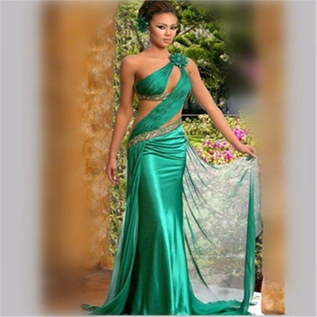71b1de4aab8d Sexy Vestido Largo Fiesta Noche Taffettà Vestito Verde Smeraldo Una Spalla  Backless Fiori Paillettes Abiti Da