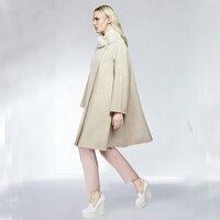 Cute Women's Woolen Cloak with Fur Collar, Winter All match Beige Gray Wool Outerwear Coat