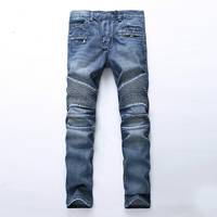 Fashion Brand Designer Ripped Biker Men Jeans Distressed Moto Denim Joggers Washed Pleated motorcycle Jeans Pants for Men