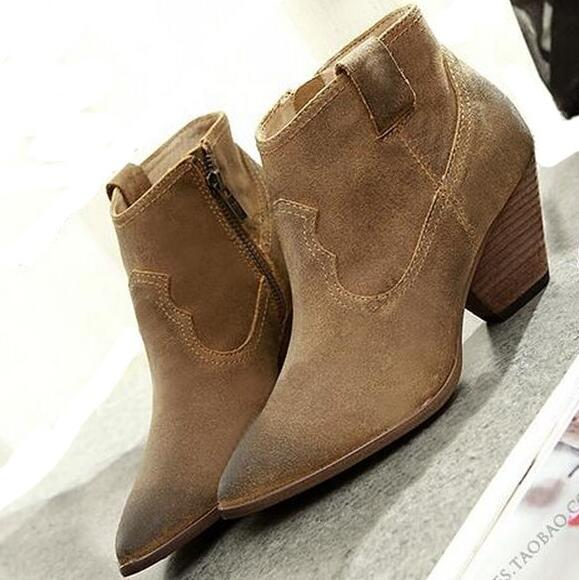 Women Autumn Winter Genuine Leather Thick Mid Heel Side Zipper Round Toe 2015 New Fashion Ankle Boots Size 34-39 SXQ0905 women spring autumn thick mid heel genuine leather round toe 2015 new arrival fashion martin ankle boots size 34 40 sxq0902