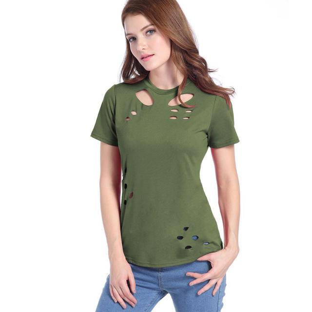 93d6493bc Casual Style T Shirt Women Black Hole Hollow Burning Flowers Short Sleeve  Army Green Tops Fashion Tops Tee Plus Size