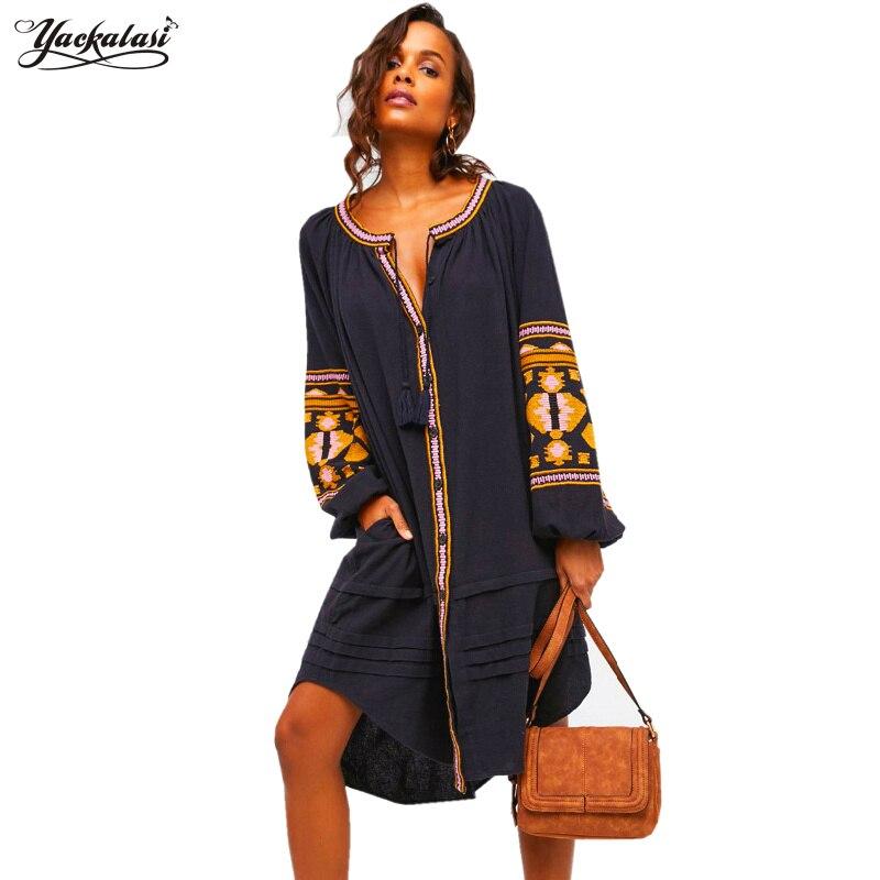 YACKALASI Bohemian Women Dress Summer Bohemian Vestido Loose Embroidered Vintage Plus Size Hoho shirt linen dress Lantern Sleeve
