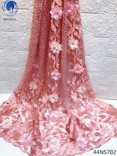 Beautifical latest nigerian 3d lace african fabric 2018 high quality new with rhinestone 44N57