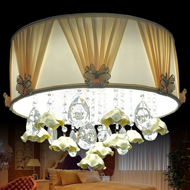 Modern Fashion Romantic Crystal Led Ceiling Lamp 36w Creative Mobile  Control Bedroom Decoration Ceiling Lights For