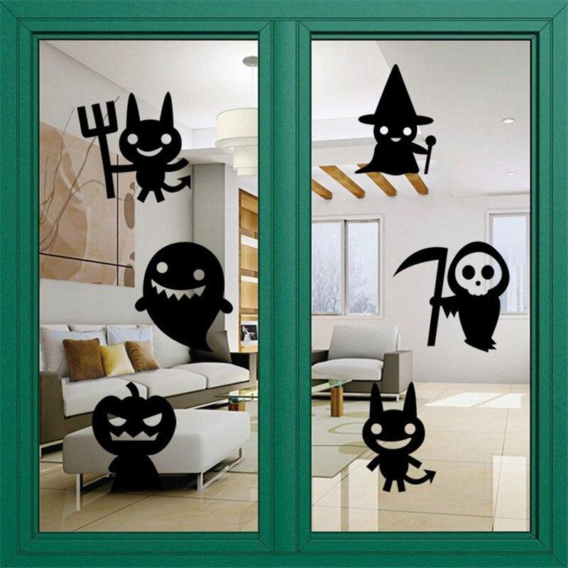halloween pumpkin bat haunted house removable wall sticker home shop mural art vinyl wallpaper glass window decals vby81 p50 - Halloween Window Decals