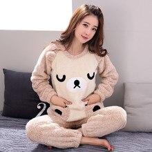 Plus size Flannel pajamas Thick Women Sleepwear Female Coral Fleece