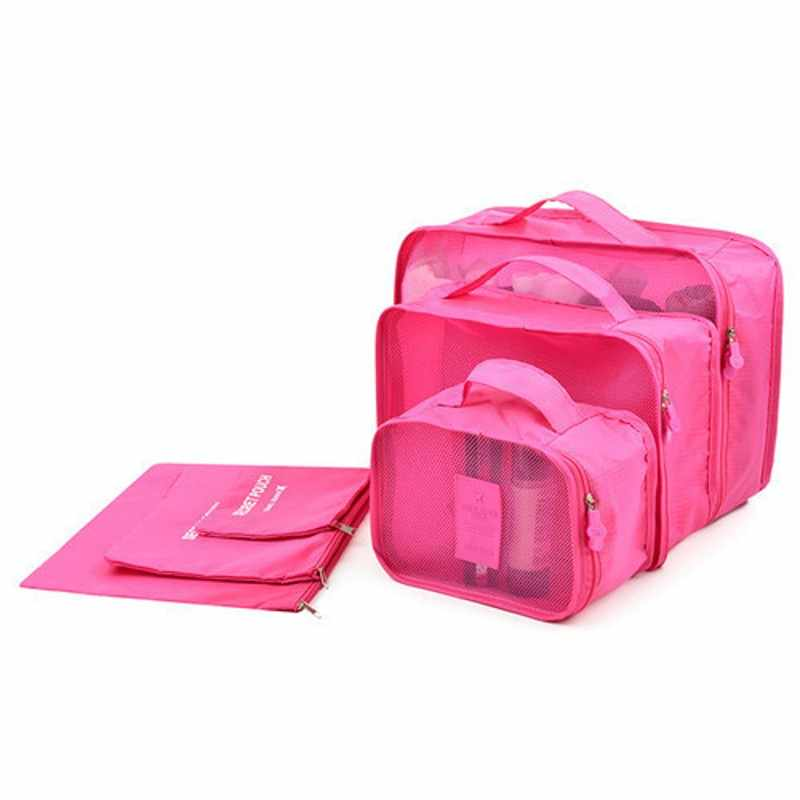 HOT 6 pçs/set Caixa Saco De Armazenamento Tidy Organizador da Viagem Bagagem Mala Bolsa Zip Bolsa Das Mulheres Sutiã Cosméticos Cueca Organizador