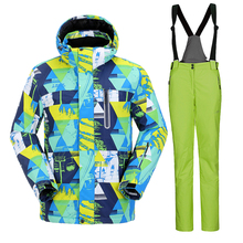 High Experience Brand Men Windrpoof Set Skiing Jacket And Bib Pants Overalls Ski Suit Men Quality Snow Clothing Waterproof 10000