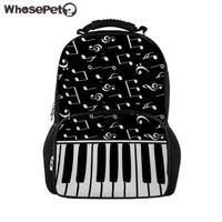 WHOSEPET Felt Backpacks Women Music Printing Shoulder Backpack Piano Pattern School Bagpack Feminine Large Laptop Daypack Bolsa