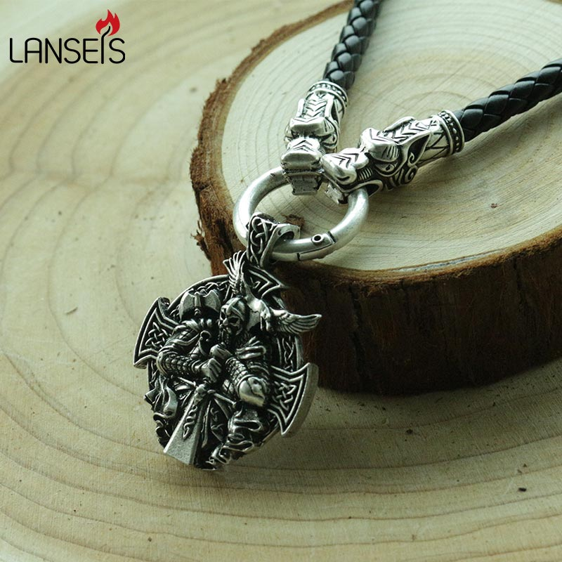 lanseis 1pcs viking Odin by Helena Rosova necklace pendant Heathen men pendant norse jewelry viking cross raven pendant