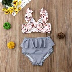Лидер продаж, комплект из 2 предметов для маленьких девочек, Леопардовый цветочный принт, купальный костюм, бандаж, оборки, детский пляжный л... 3