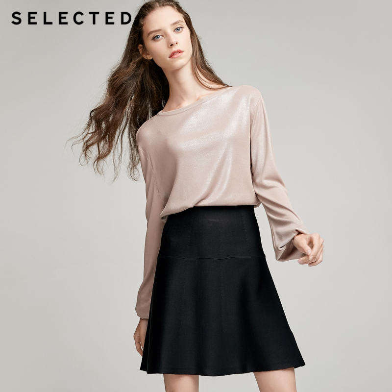 SELECTED Stretch splicing A shape over skirt S 41741J502