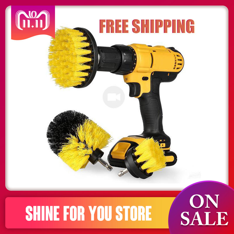 3pcs Power Scrubber Brush Drill Brush for Household Rotating Drill Brush Scrub Bathroom Cordless Drill Attachment