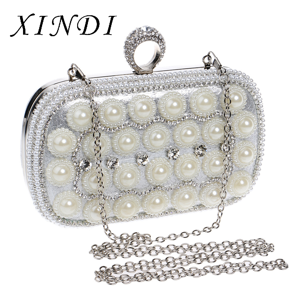 Fashion new ladies pearl clutches bag classic banquet dinner bag nightclub lady evening bags luxury handbags women bags designer luxury classic european and american wind drill bag dinner banquet evening dress lady hand bag bride wedding day clutches