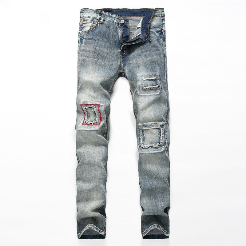 High Quality Mens Ripped Biker Jeans Slim Fit Motorcycle Jeans For Men Vintage Distressed Denim Overalls Men Pants Large Size streetwear mens jeans ripped denim full pants new famous brand biker jeans men high quality slim patch jeans plus size 1604