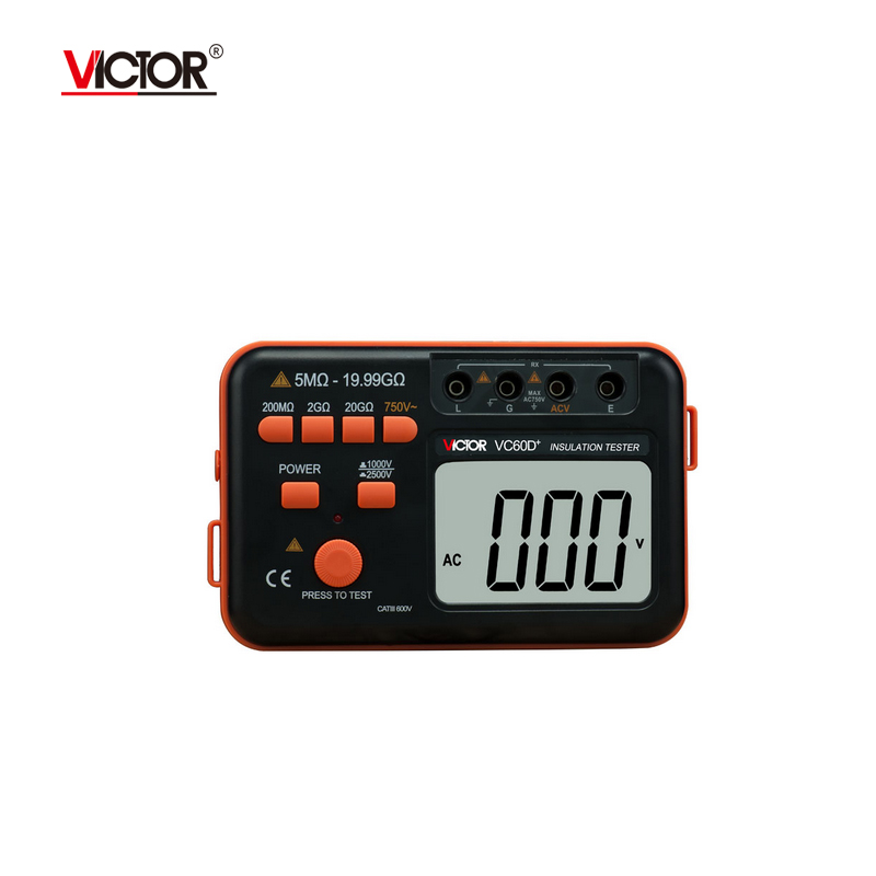 VICTOR VC60D+ LCD Digital Insulation Resistance Tester Megger MegOhm Meter Testers Measure 20G Resistance 1000V/2500V smart sensor as907 digital insulation resistance tester megger megohm 1k 2000mohm high voltage detector meter 250v 500v 1000v