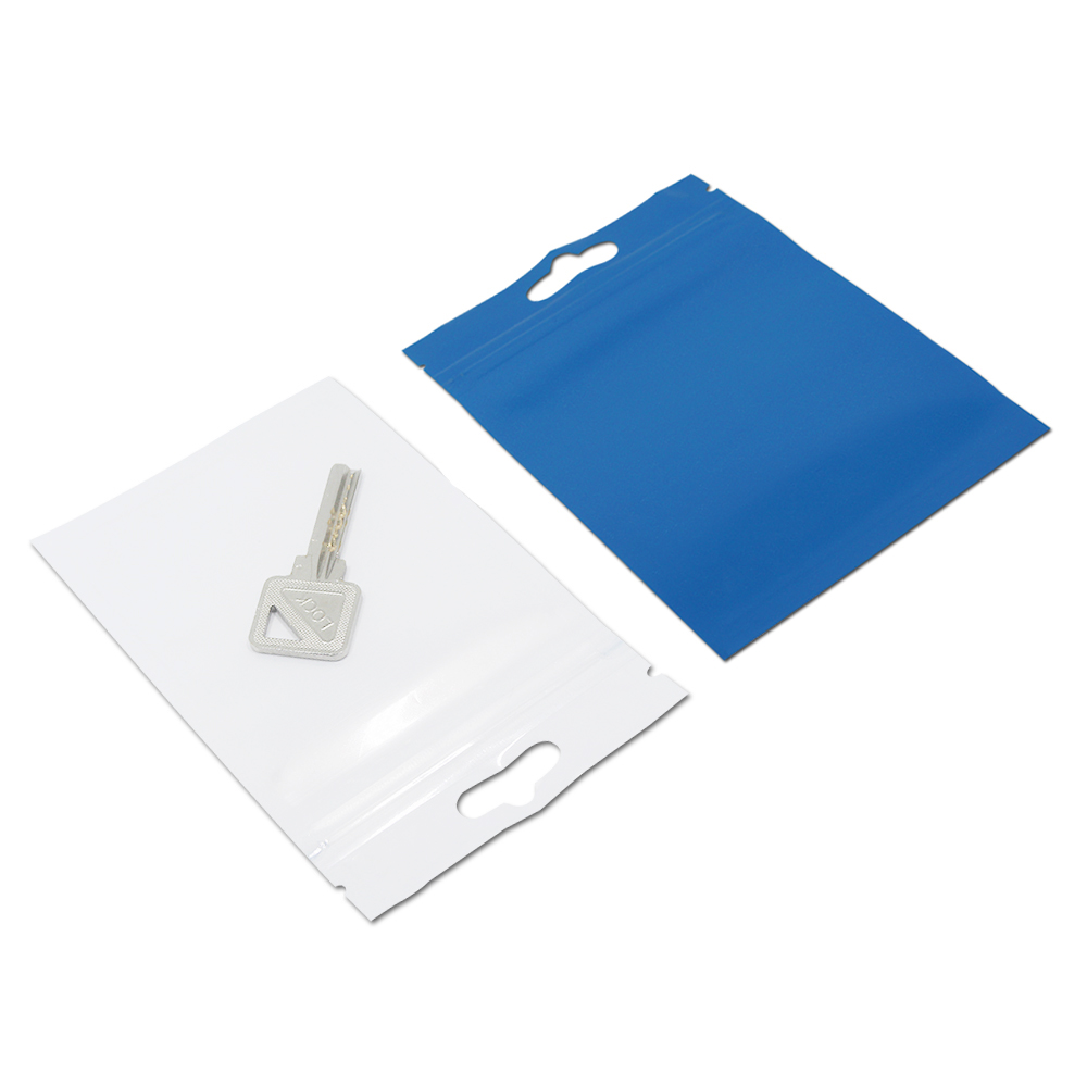 50Pcs Large Sizes Plastic Clear Front Blue Back Sundries Storage Zip Lock Packaging Bag Self Seal Crafts Grocery Zipper Pack Bag