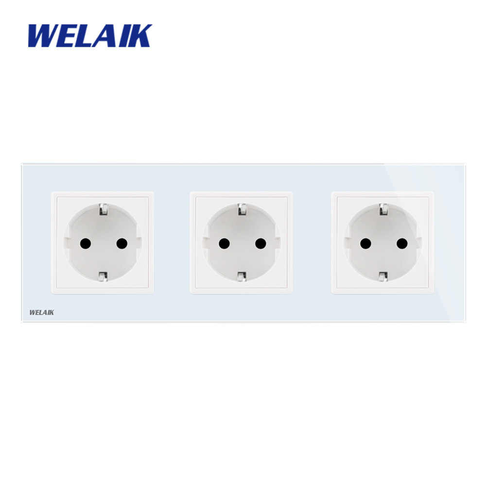 WELAIK 3Frame-Glass-Panel Wall-Socket Wall-Outlet  European-Standard Power-Socket AC110~250V A38E8E8EW/B