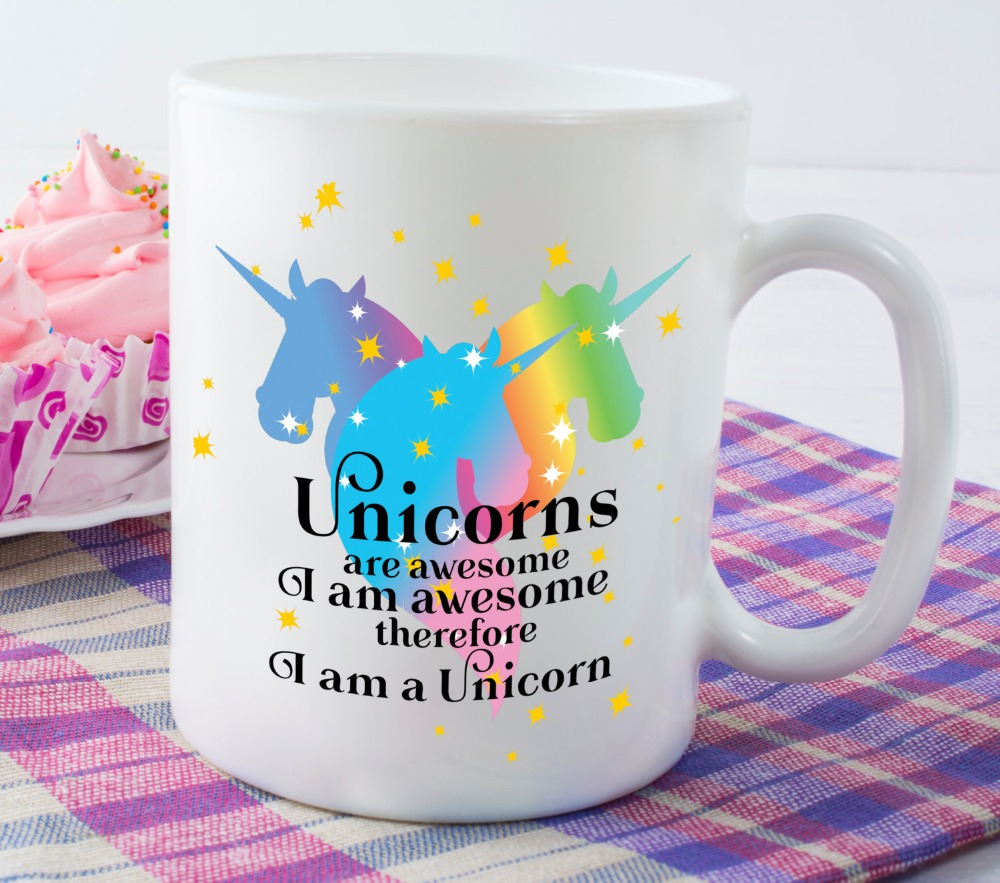 Rainbow Unicorn Mug Girlfriend Gift Wife Gift coffee mugs ceramic Tea travel home decal kitchen kids