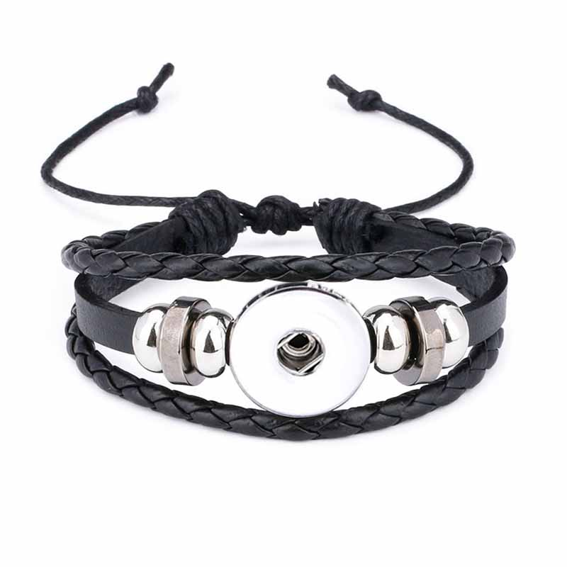 Hot Original 317 Genuine Leather Hand Weave 18mm 12mm Snap Button Bracelet Interchangeable Charm Jewelry For Women Teenagers image