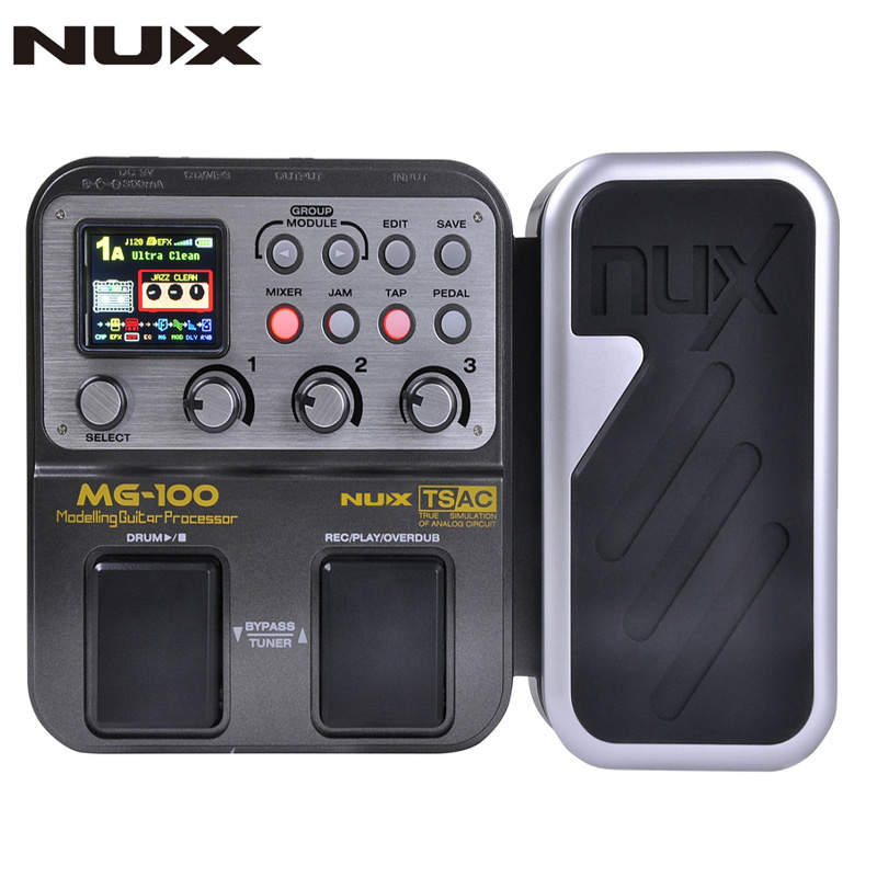 NUX MG-100 Guitar Pedal Multi Effects Pedal Processor 58 Effect Models 20seconds Loop Drum Machine 8 Effects Simultaneously electric guitar effector multi function guitar composition upgrade stylesound tuner drum machine integrated digital effects