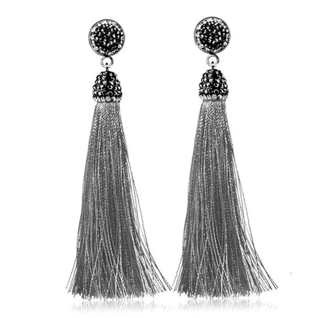 0f9796608 Boho Fashion Long Crystal Silk Tassel Earrings Handmade Dangle Drop Earrings  For Women Jewelry Christmas Gifts