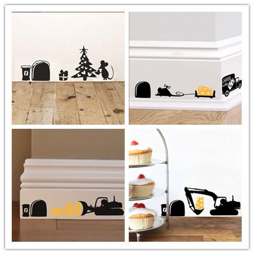3d drocircle souris trou stickers muraux pour enfants chambres transport alimentaire accueil stickers de - Tache Colorant Alimentaire
