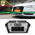 Z-ART RS3 Style ABS Front Honeycomb Grille,Black Frame Black Mesh Grill Grille With Chrome Emblems for Audi 2014 ( Fit A3 2014)