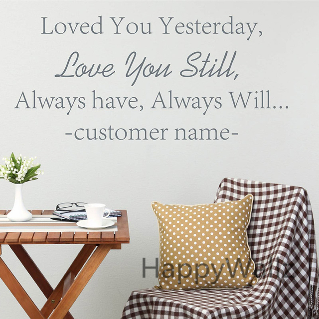 Love Quotes Wall Sticker DIY Name Quote Wall Decal Decorative Love ...