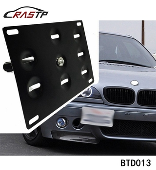 RASTP - Auto Black Front Bumper Tow Hook License Plate Mounting Bracket Holder RS-BTD013