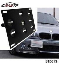 RASTP soporte de montaje de placa de matrícula para parachoques delantero de coche, gancho de remolque, color negro, RS BTD013