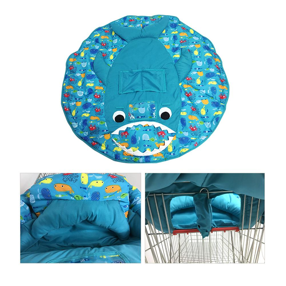 Infant Children Foldable Supermarket Shopping Cart Covers Cartoon Cushion Pad Protection Cover Seat Safety Belt Kid Chair Mat