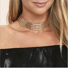 1107e22745a7 Moda mujer ancha gargantilla collar oro plata color zinc aleación mujer  cadena collares cuello joyería collier Mujer