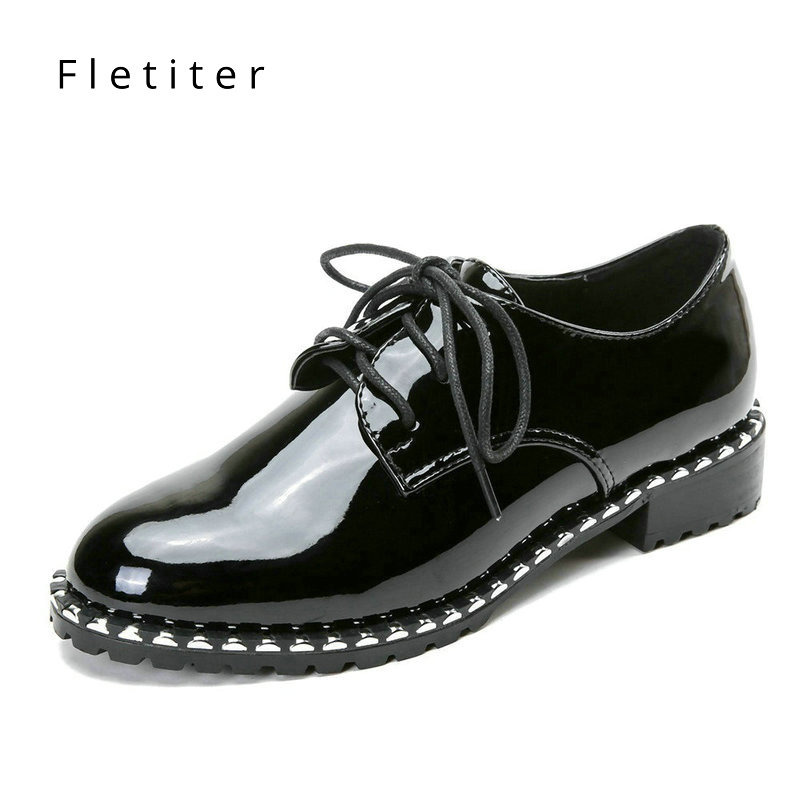Fletiter Flats British Style Oxford Shoes Women Spring Leather Oxfords Flat Heel Casual Shoes Lace Up Womens Shoes Retro Brogues