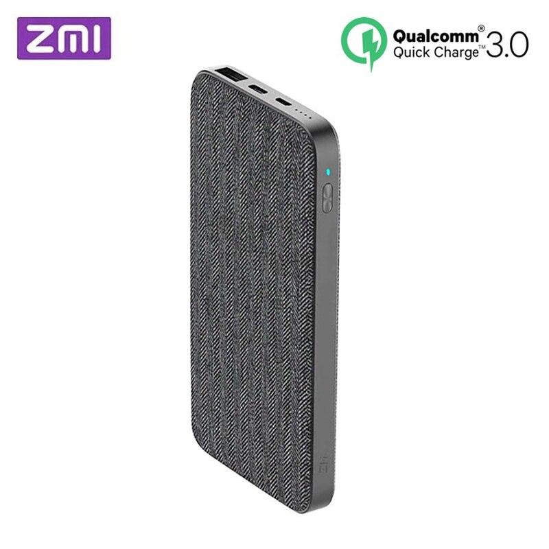 Xiaomi ZMI 10000 mAh nouveau style de mode Gris Tissu batterie externe QC3.0 PD Type-C PD Deux-Façon charge rapide 18 W batterie externe