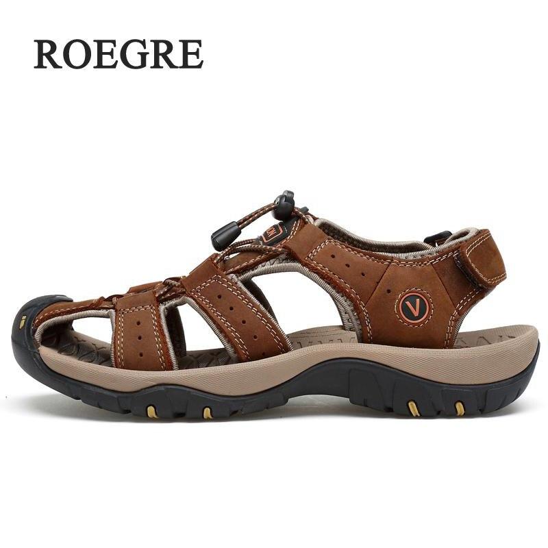 2018Men's Sandals Leather Summer Soft Sandals Men's Breathable Light Beach Leisure Quality Walking Sandals Large Size 38-47